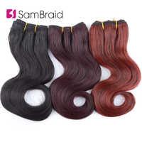 Sambraid 8 Zoll Kurze Afro Körper Wellenförmige Synthetische Haar Extensions Blended Haar Spinnt Ombre Haar Tressen Für Frauen 3 teile/paket