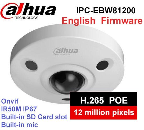 Dahua IPC-EBW81200 12MP 4000X3000 Resolution PoE WDR Panorama 360 Degree Fisheye Dome e-PTZ Network IP Camera built-in MIC original dahua dh ipc ebw81200 12mp ultra hd metal waterproof shell ir network fisheye camera ip67 ipc ebw81200