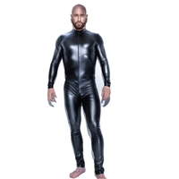Black Full Body Latex Suit Latex Catsuit Mens Bodysuit Motorcycle Jacket Wet Look Fetish Stripper Wear Stage Pole Dance Clothes