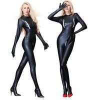 GNDHICL Sexy Lingerie Black PVC Faux Leather Spandex Vinyl Bodysuit Jumpsuit Catsuit Fetish Party wear