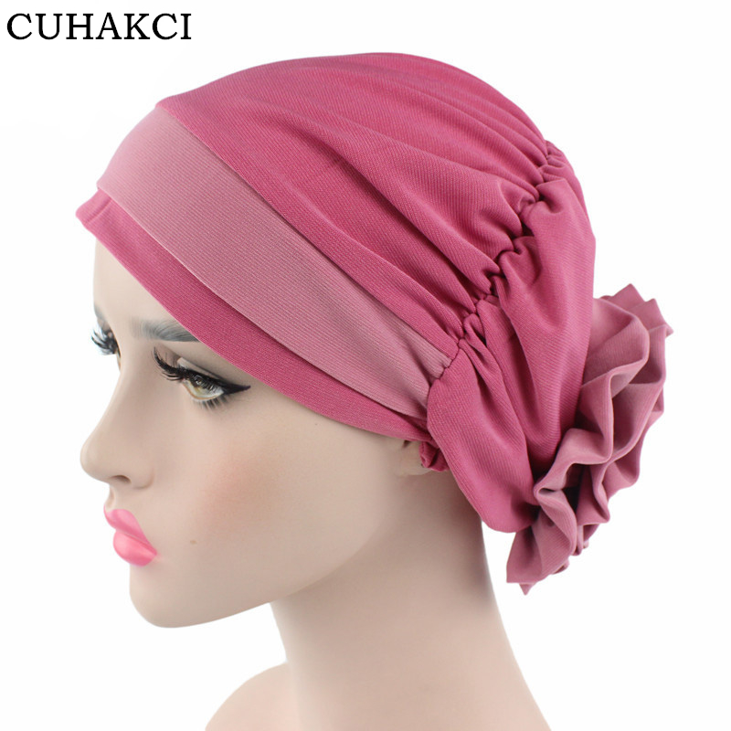 CUHAKCI Women Muslim Hat 12 Colors Flower Head Cap Scarf Fashion Soft Caps Lady Summer Spring Beanies Elastic Cloth Towel women s hat muslim flowers decorated beanies scarf cap two color fashion flower hat famous winds tight adjustment female hat