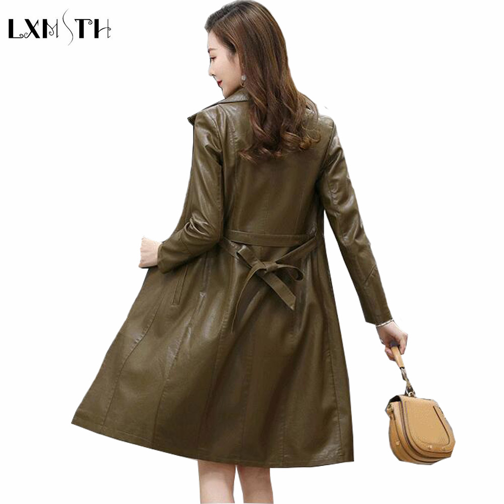 LXMSTH Spring Autumn Slim Long   Leather   Coat Women With Belt Plus Size Coats for Woman Trench Mother Casual PU   Leather   Jacket 5XL
