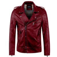 Men's High Quality PU Leather Motorcycle Jacket Winter Autumn Leather Jackets And Coats Slim Male Clothing Red Green Brown Black