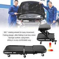 Z Shape 36 Inch 360 Degree Rotatable Wheels Foldable Car Repairing Plate Creeper Seat Convertible To Stool Maintenance Tool