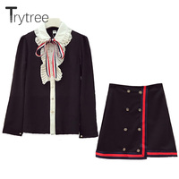 Trytree Spring summer Women two piece set Vintage Fashion tops + skirt Top turn down Collar Office Polyester Suit 2 Piece Set