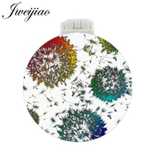 JWEIJIAO Colourful Dandelion Art Photo Printed Pocket Mirror With Massage Comb Makeup Travel Purse Mirrors unique gift for women