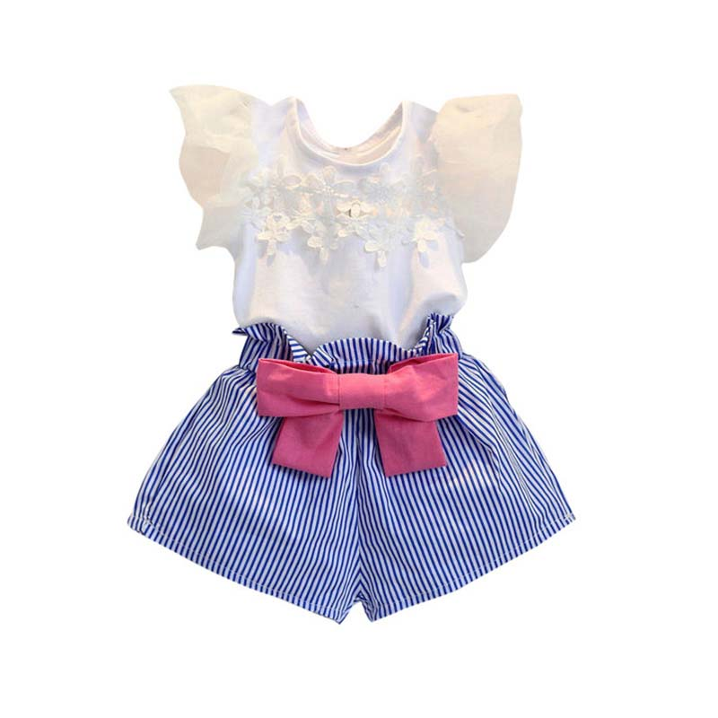 2PCS/2-7Years/2017 Summer Style Korean Kids Clothes Suits T-shirt+Stripe Shorts Baby Girls Outfits Children Clothing Set