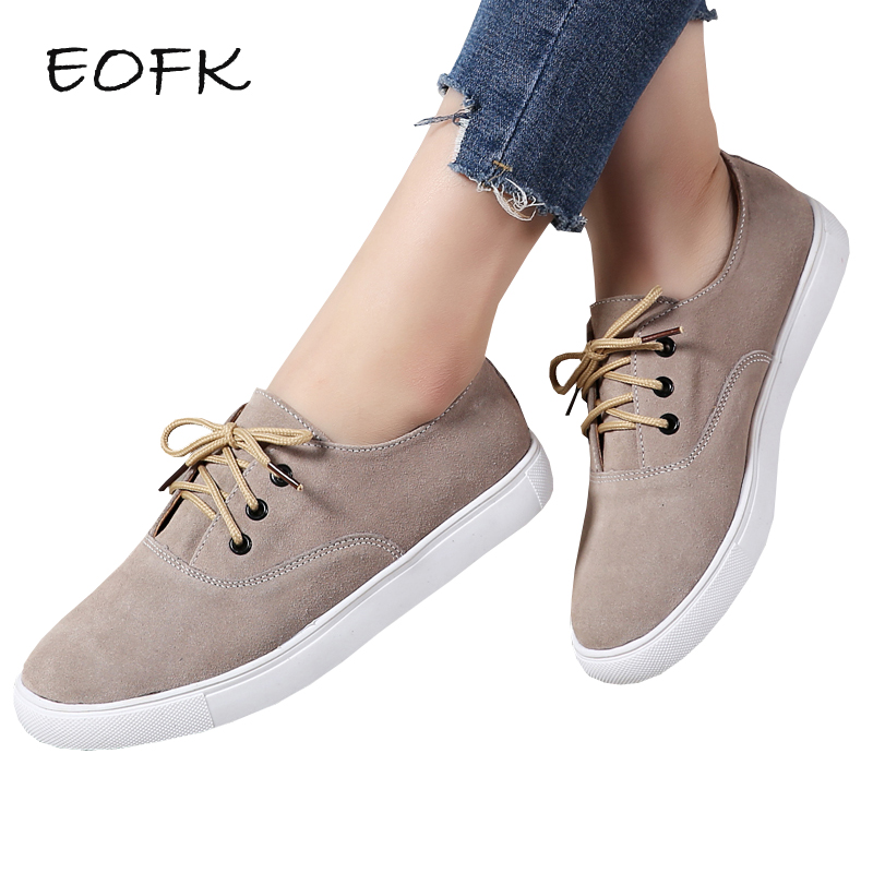 EOFK Women Suede leather Shoes Woman Women's Flats New Spring Autumn Comfortable Concise Lace Up Lady Sneakers Flat Shoes rizabina concise women sneakers lady white shoes female butterfly cross strap flats shoes embroidery women footwear size 36 40