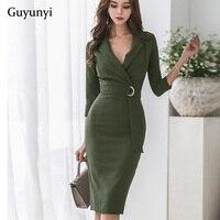 2019 春グリーン韓国語バージョン OL 気質のスーツの襟 7 点袖ウエストベルトストラップ女性
