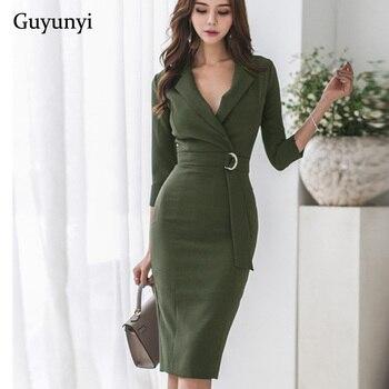 a400c22ee1 2019 primavera vestido verde nueva versión coreana OL temperamento traje de  cuello siete puntos mangas cintura cinturón de cadera Vestido Mujer