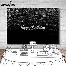 Sensfun photographie fond noir argent paillettes joyeux anniversaire fête toile de fond Photo Studio 7x5FT personnalisé vinyle Polyester
