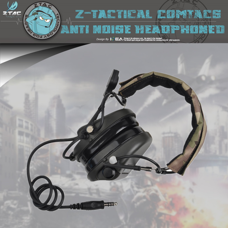 Z-tac Z110 Military Headphone Softair Outdoor Headband Version Fits Under New Or Legacy Helmets