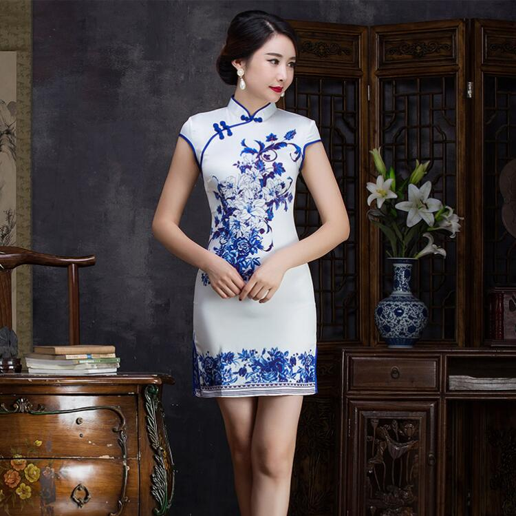 Summer Fashion Cheongsam <font><b>Chinese</b></font> Female Qipao Long Satin Cheongsam China Vintage <font><b>Dress</b></font> evening <font><b>dress</b></font> Short Sleeve <font><b>sex</b></font> skirt image
