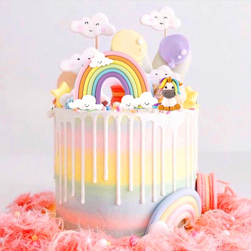 Colorful Unicorn Cake Topper New Rainbow Cloud Birthday Cake Flag For Wedding Birthday Party Baking Cake Decorations Baby Shower birthday cake
