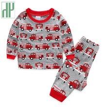 Kids pajamas sets car printing boys clothes toddler girls long sleeve T-Shirt+Pants Suit 2pcs children clothes set 2 6 7year недорого