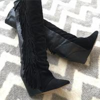 2018 Spring New Fashion Suede Leather Patchwork Women Knee High Boots Sexy Pointy Toe Ladies Wedge Heel Boots Fringe Boots