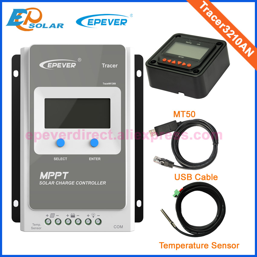 Charger controller 12V 24V 30A MPPT LCD solar panels USB&temp sensor MT50 Meter EPEVER EPsolar Tracer3210AN battery controller with white color mt50 remote meter epsolar pwm solar battery charger controller bluetooth function usb cable ls2024b 20a