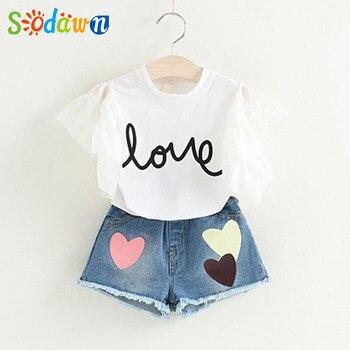 Sodawn Fashion Girls Clothing Set 2019 Summer Baby Girls Clothes White Jacket Flower Decoration+Denim Shorts Children Clothing 3