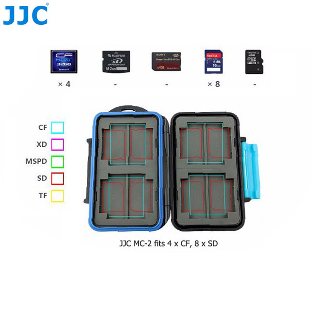 JJC Storage 4 x CF, 8 x SD Cards Compact Tough Water-Resistant Camera Memory Card Case