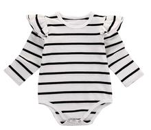Newborn Kids Baby Girl Long Fly Sleeve Cotton Striped Romper Jumpsuit Outfit One-Pieces Clothes Baby Autumn Spring Clothing