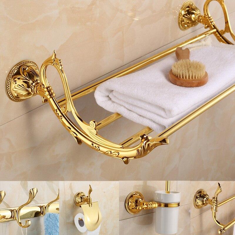 Antique gold bathroom accessories sets golden carved for Gold bathroom accessories sets