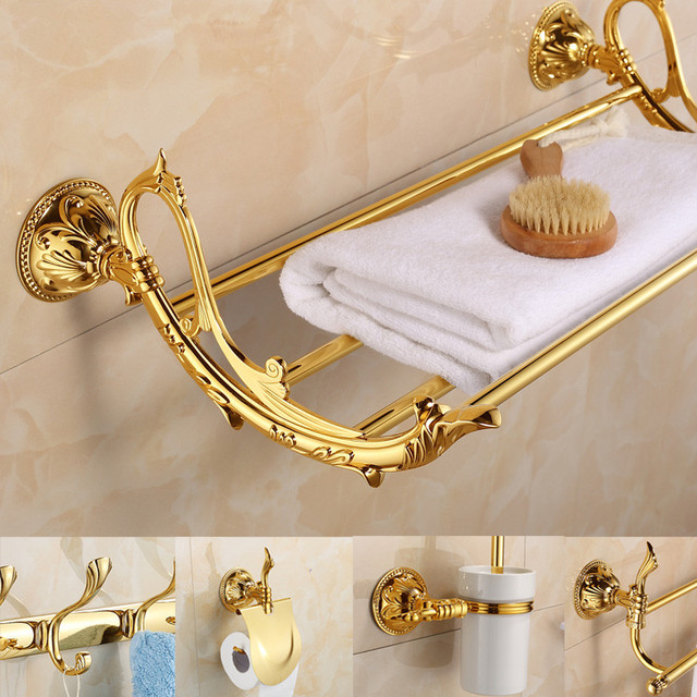 Antique Gold Bathroom Accessories Sets Golden Carved Bathroom ...