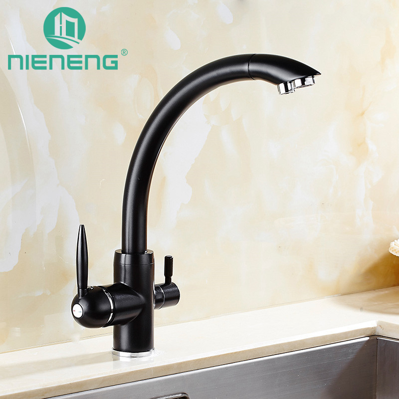 Nieneng Black Taps Swivel Sink Mixer Drinking Water Kitchen Faucet 3 Way Water Filter Tap with Water Purifier Handle ICD60371 5pcs 433mhz wireless restaurant cafe pager waiter calling system button call pager four key restaurant equipment f3285c