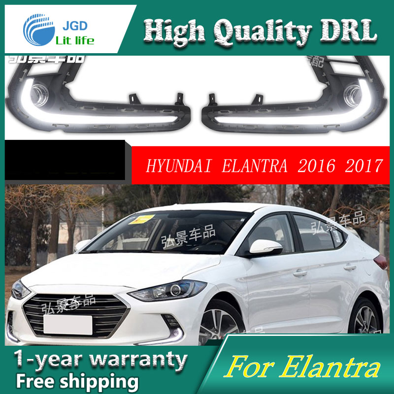 Free shipping !12V 6000k LED DRL Daytime running light case for Hyundai Elantra 2016 2017 fog lamp frame Fog light Car styling 12v car led drl daytime running light fog lamp cover with turn signal light for hyundai elantra 2016 2017