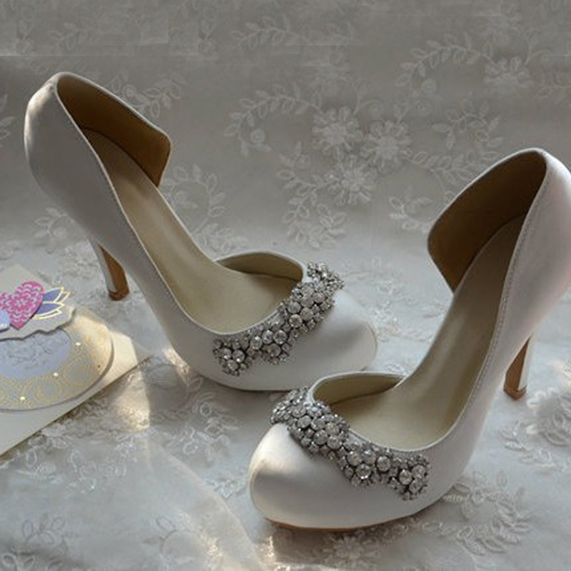 Aliexpress Buy New Arrival Rhinestone Wedding Shoes White Satin Bridal Round Toe High Heel Gorgeous Party Prom From Reliable Shoe Agents