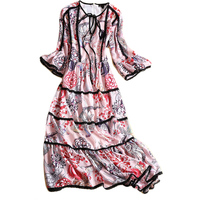 Fairy Dresses Designer High Quality Women 3/4 Flare Sleeve Fashion 2017 Summer Print V-Neck Lace Patchwork Princess Dress