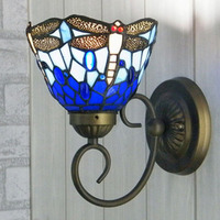 Tiffany Mermaid Wall Lamp Dragonfly Stained Glass Lampshade Wall Sconce Bedside Bathroom Mirror Cabinet Fixtures E27 110 240V