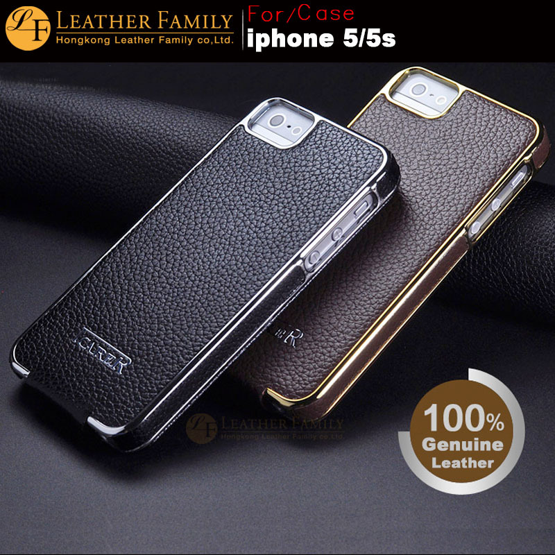 For 5S case ICARER Electroplating Series Leather Case for iPhone 5 5S SE Genuine Cowhide Flip