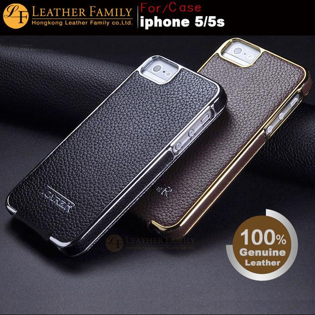 Para 5S caso icarer galvanoplastia series leather case para iphone 5 5S SE Couro Genuíno Saco Do Telefone Móvel Da Aleta Lado Cromo Ouro