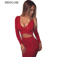 Autumn Pencil Red Dress Elegant Women Party Elastic Dresses Cotton Bandage Bodycon Warm Feminina Roupa Sexy