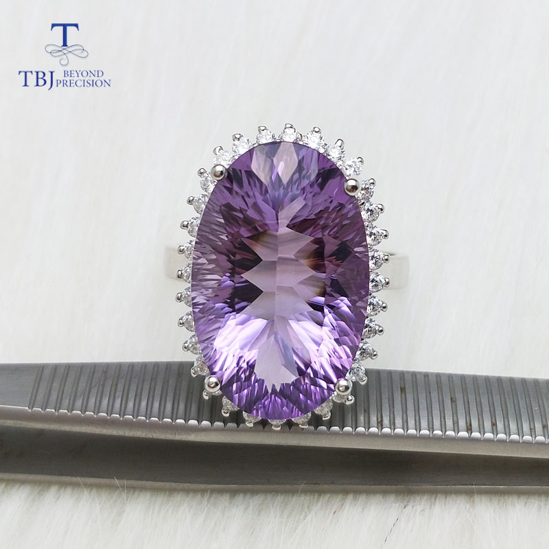 TBJ,100% Big Long oval shape top color Brazil Amethyst gemstone Ring in 925 sterling sliver for Party with nice gift box