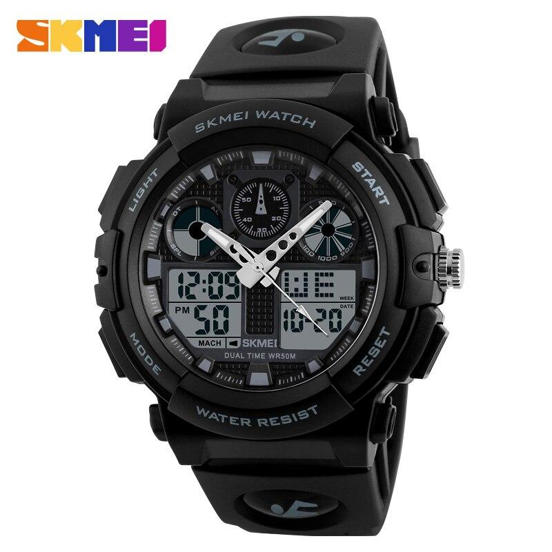 SKMEI Brand Men Sports Watches Digital Quartz Dual Display Watch Watwrproof Military Wristwatches Outdoor Relogio Masculino