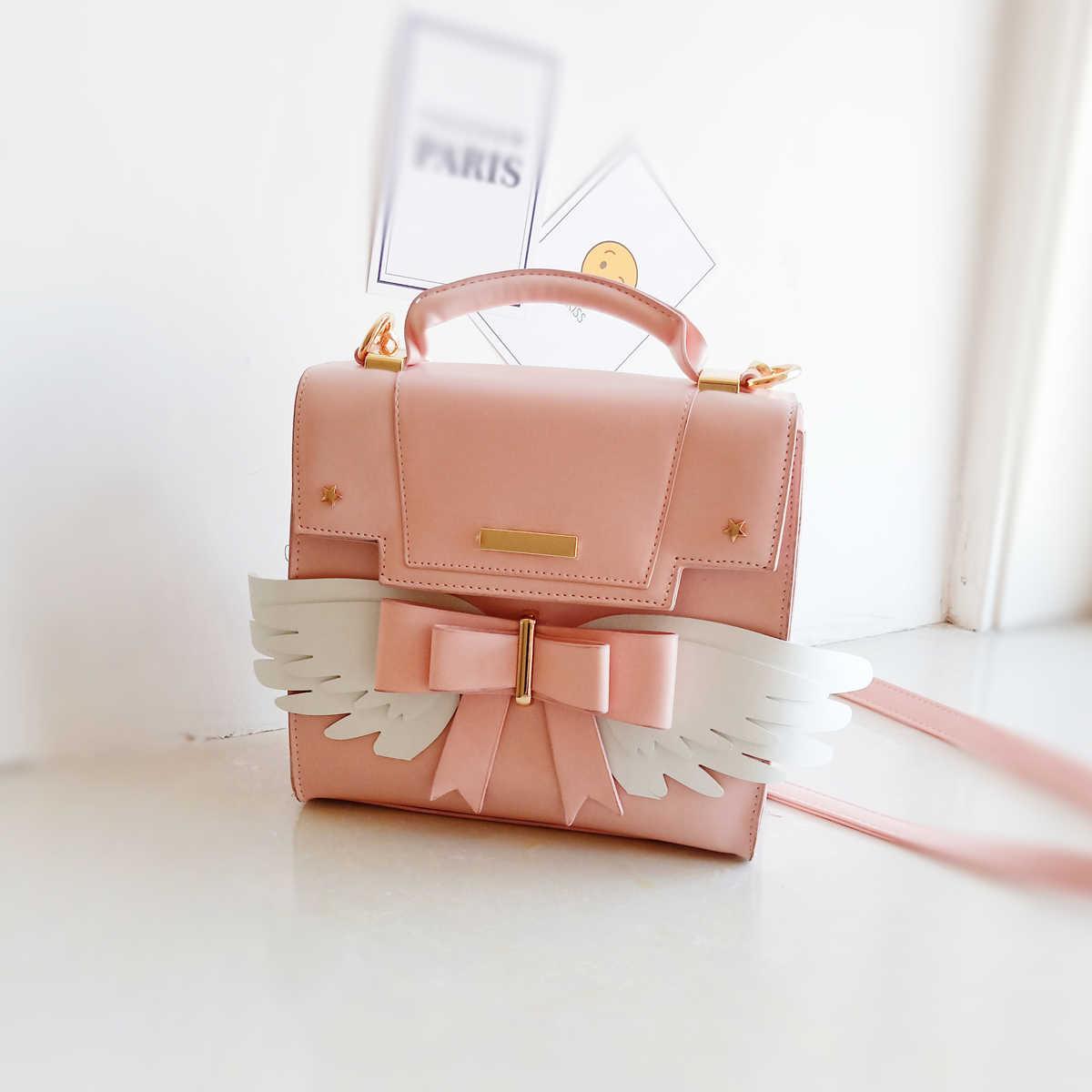 Модная милая сумка на плечо в стиле Лолиты с крыльями и бантом, женская сумка через плечо, женская сумка летучая мышь, дизайнерская сумка