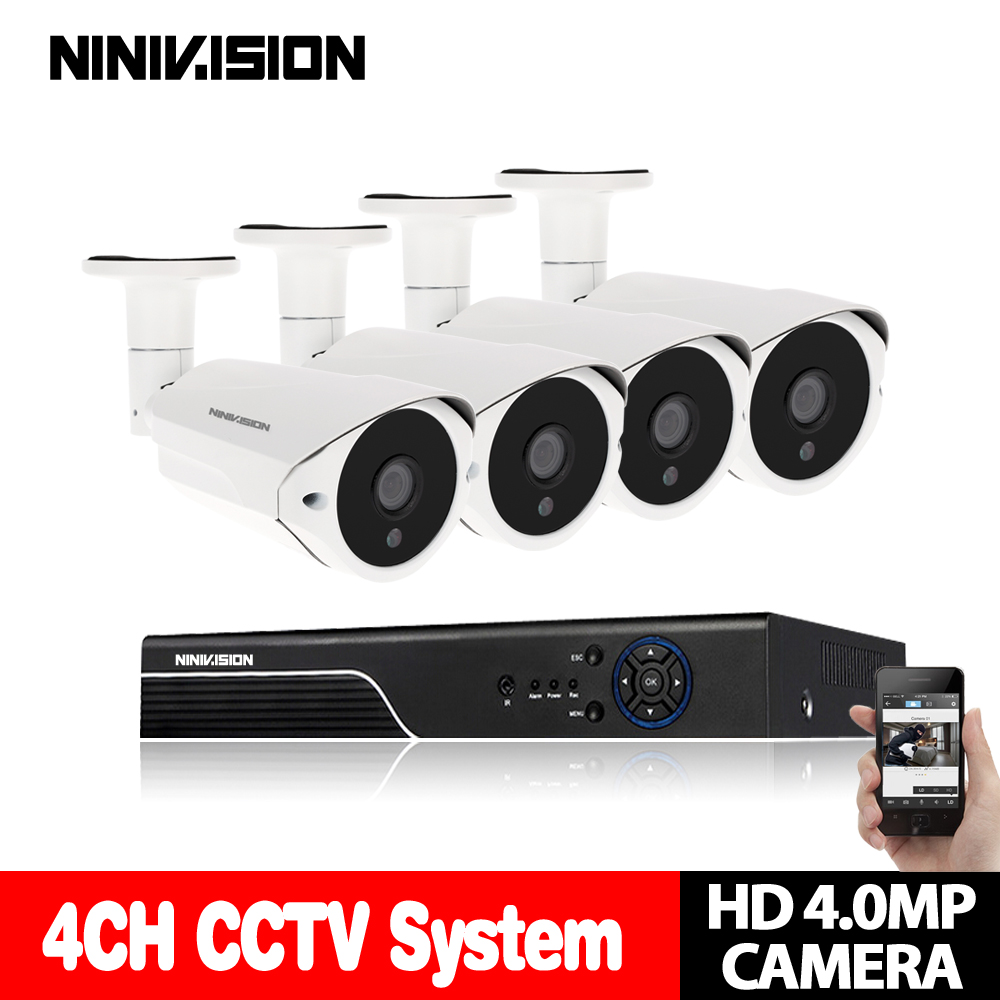 Home CCTV System 4CH 4MP AHD DVR Kit with 4Pcs 4MP AHD Video Surveillance Camera 40 Meter NightVision Security System NINIVISION