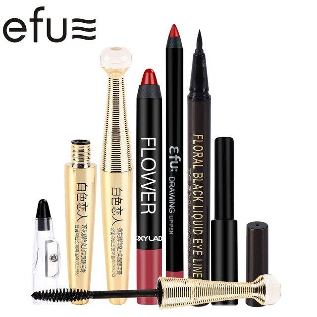 1Sets=5Pcs Makeup Set Lip Liner And Lipstick And Eyeliner And Mascara And Sharpener Brand EFU  #EFUS01