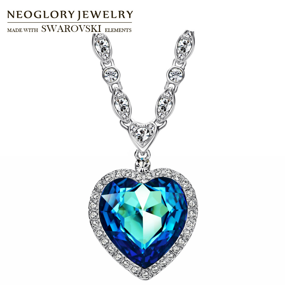 Neoglory MADE WITH SWAROVSKI ELEMENTS Cristal et Strass Long Charme Pendentif Déclaration Collier Romantique Coeur D'amour Classique