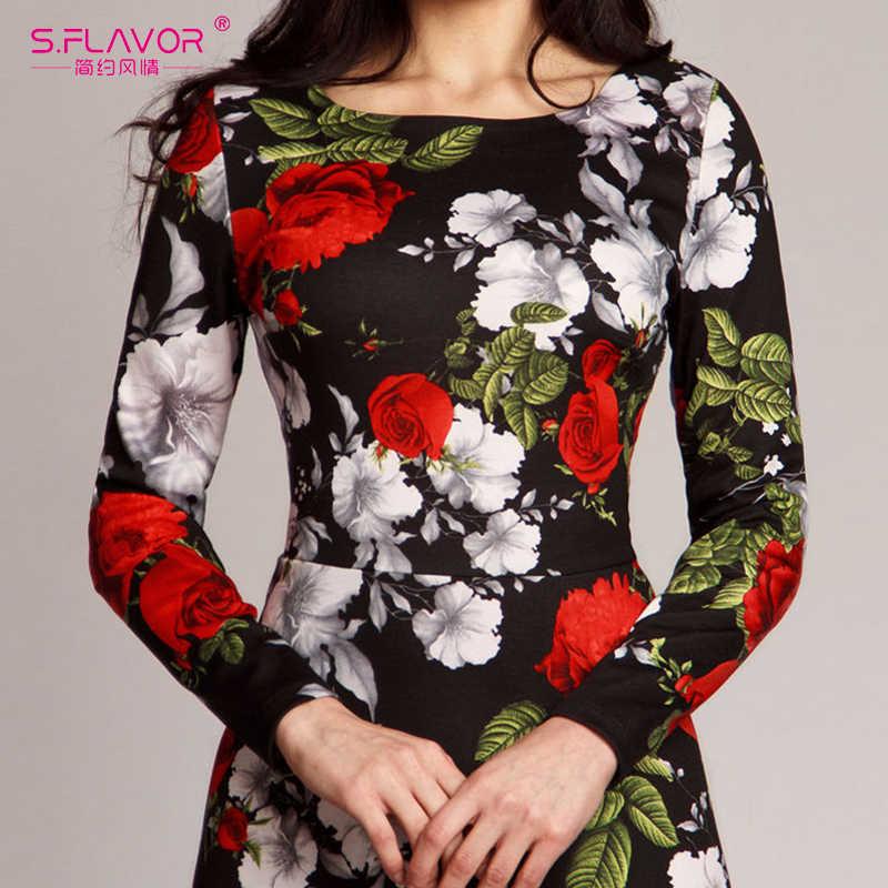 Женское длинное винтажное платье S.FLAVOR, элегантное повседневное платье с О-образным вырезом и длинным рукавом, облегающее праздничное платье макси с цветочным принтом для весны и лета