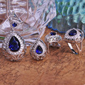 Royal Sapphire Jewelry sets Brand Women Wedding Necklace Earring Ring Bijoux Set Collar CZ Diamond Rhinestone Jewellery set Man