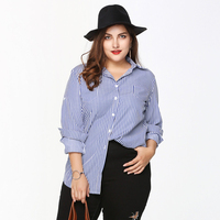 2017 Summer Women Shirts Fashion Striped Turn Down Collar Blouses Feminina Long Sleeves Loose Blusas Light