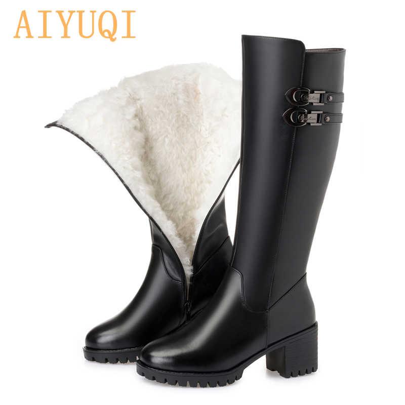 AIYUQI 2019 neue frauen echtes leder winter wolle hohe ferse hohe stiefel große größe 41 42 43 warme schnee stiefel frauen