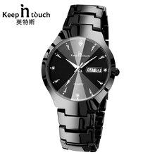 KEEP IN Touch Элитный бренд Кварцевые черные часы для мужчин модные повседневное наручный календарь s часы световой человек erkek коль saati