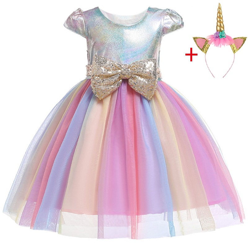 Image 5 - New Unicorn Dress for Girls Embroidery Ball Gown Baby Girl Princess Birthday Dresses for Party Costumes Children Clothing-in Dresses from Mother & Kids