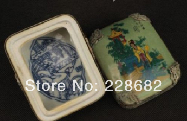 Handwork Tibet Silver Porcelain Carved Dragon Painted Belle Jewel Box Free Shipping