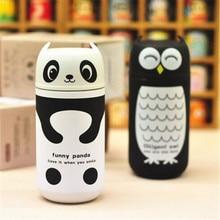 Lindo Panda y Búho de Acero Inoxidable Ventosa Taza Portátil Taza Térmica Botella de Agua Caliente Con Aislamiento Thermocup Frascos Viajes Taza de Café