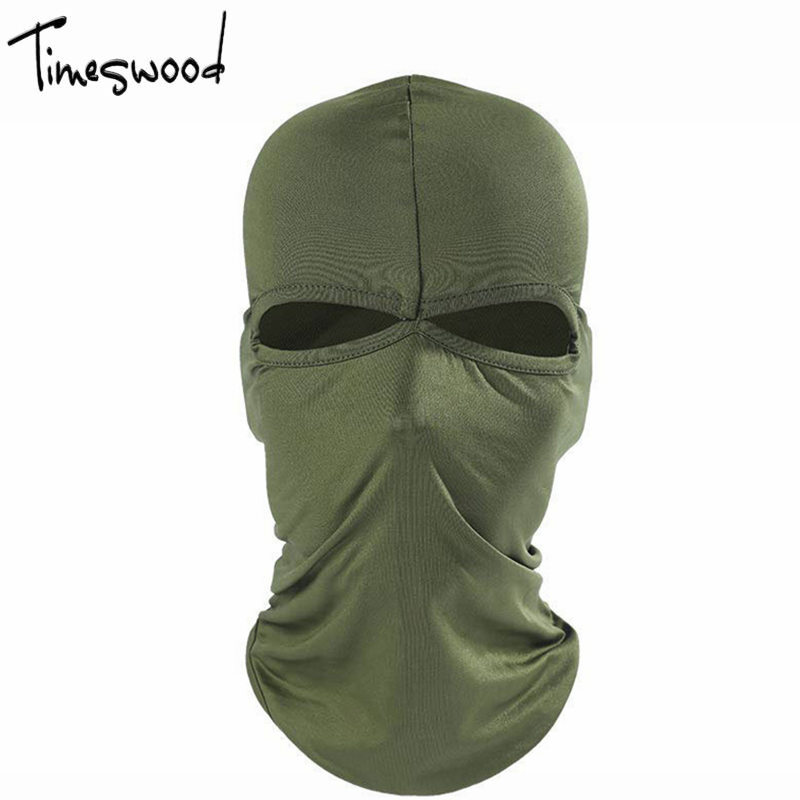 [TIMESWOOD] Face Shield Protection Mask Tactical Full Face Guard Blank Army Mask Hat For Men Women Balaclava Cosplay Accessories zombie style protective war game military tactical face shield mask green