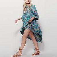 2017 New Women Dress Floral Print Long Sleeve Dress Femme V Neck Sexy Dresses Large Size